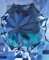 Paraply (blå). (Umbrella, Blue), 2013, 229x200 cm acrylic and oil on canvas