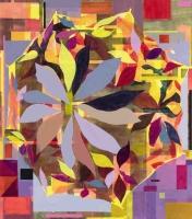 Paraply (gul). (Umbrella, yellow, 2015,) 180x158 cm acrylic on canvas.