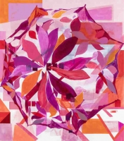 Paraply (rød) (Umbrella, red), 2015, 180x158 cm acrylic on canvas